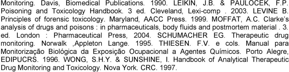3. ed. London : Pharmaceutical Press, 2004. SCHUMACHER EG. Therapeutic drug monitoring. Norwalk,Appleton Lange. 1995. THIESEN. F.V. e cols.