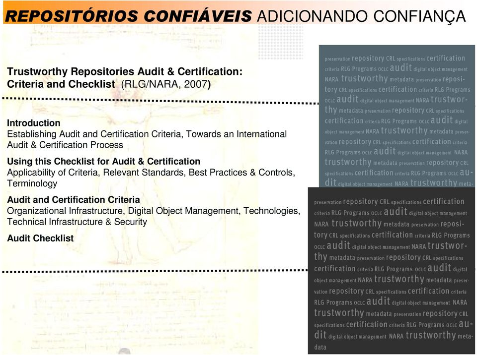 Checklist for Audit & Certification Applicability of Criteria, Relevant Standards, Best Practices & Controls, Terminology Audit and