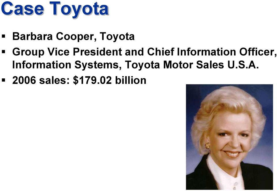 Officer, Information Systems, Toyota