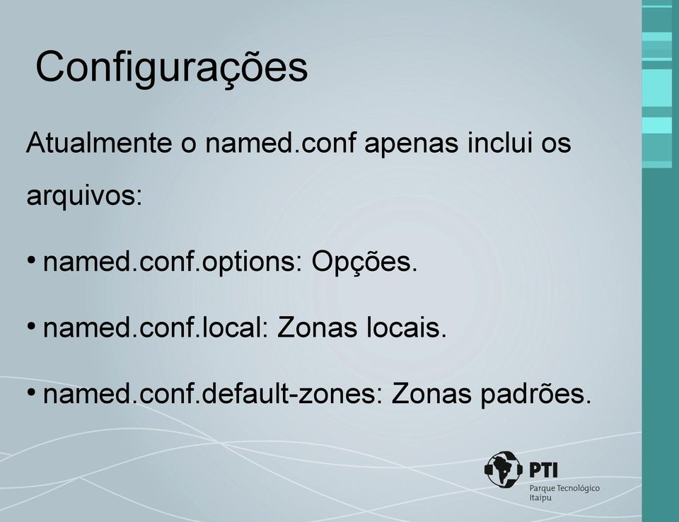 conf.options: Opções. named.conf.local: Zonas locais.
