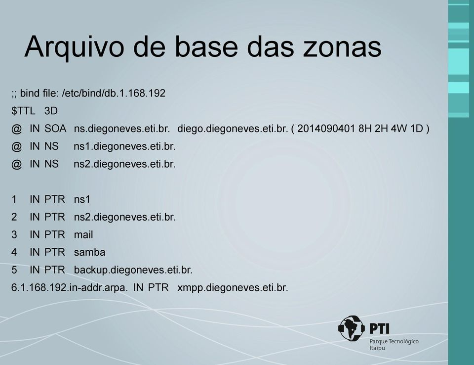 diegoneves.eti.br. 1 IN PTR ns1 2 IN PTR ns2.diegoneves.eti.br. 3 IN PTR mail 4 IN PTR samba 5 IN PTR backup.