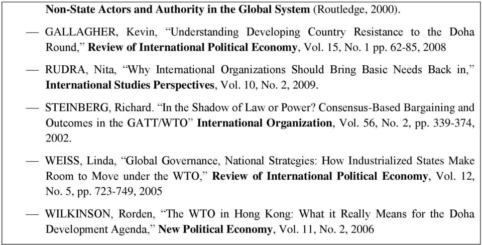 In the Shadow of Law or Power? Consensus-Based Bargaining and Outcomes in the GATT/WTO International Organization, Vol. 56, No. 2, pp. 339-374, 2002.