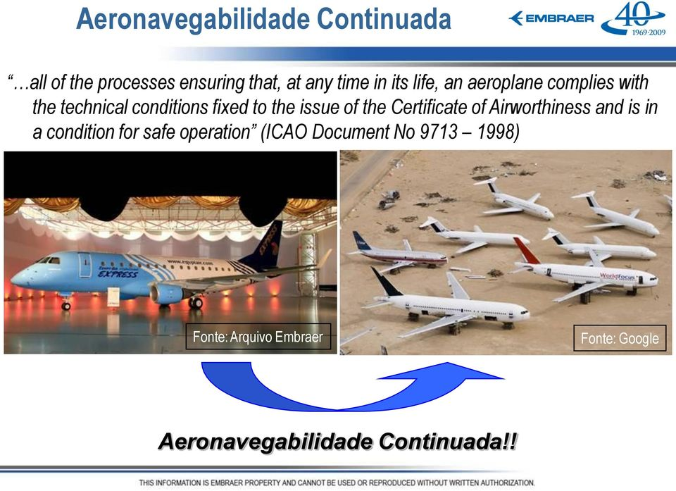 of Airworthiness and is in a condition for safe operation (ICAO Document No