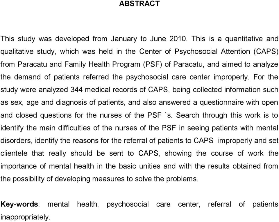 of patients referred the psychosocial care center improperly.