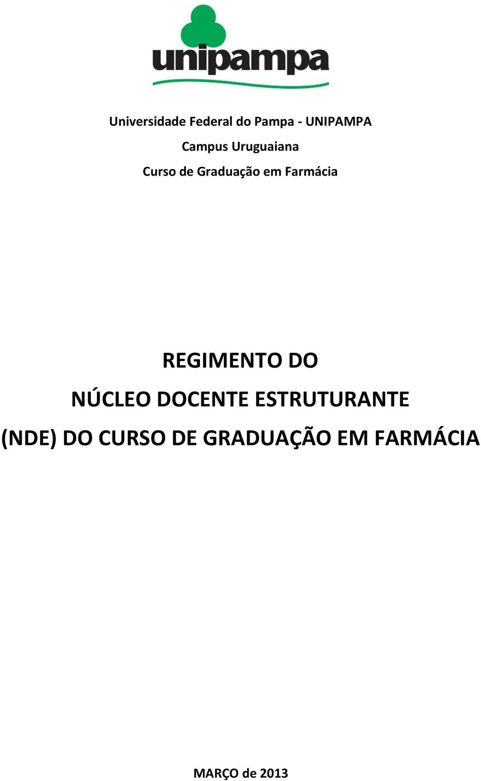 Farmácia REGIMENTO DO NÚCLEO DOCENTE