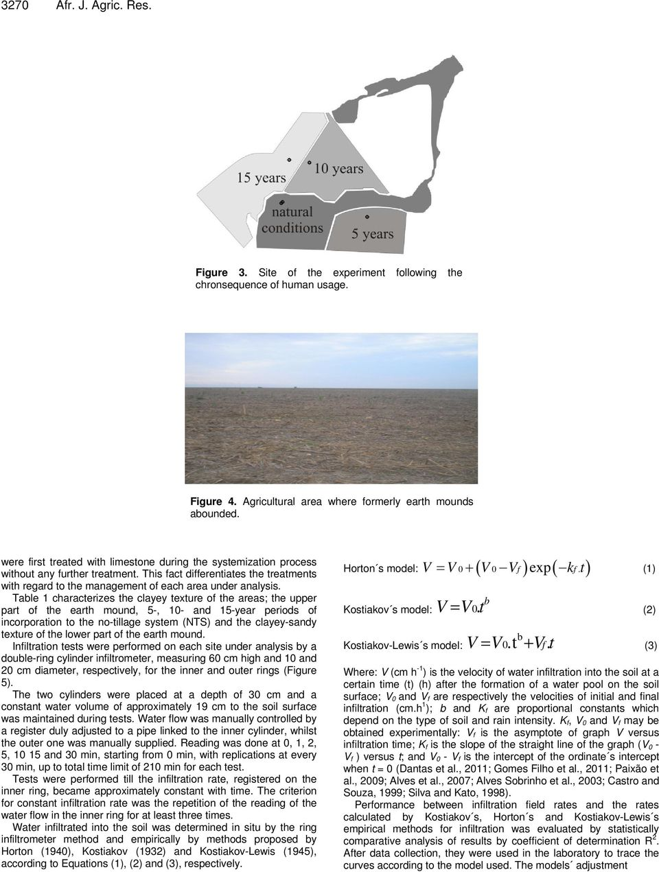 Table 1 characterizes the clayey texture of the areas; the upper part of the earth moud, 5-, 10- ad 15-year periods of icorporatio to the o-tillage system (NTS) ad the clayey-sady texture of the