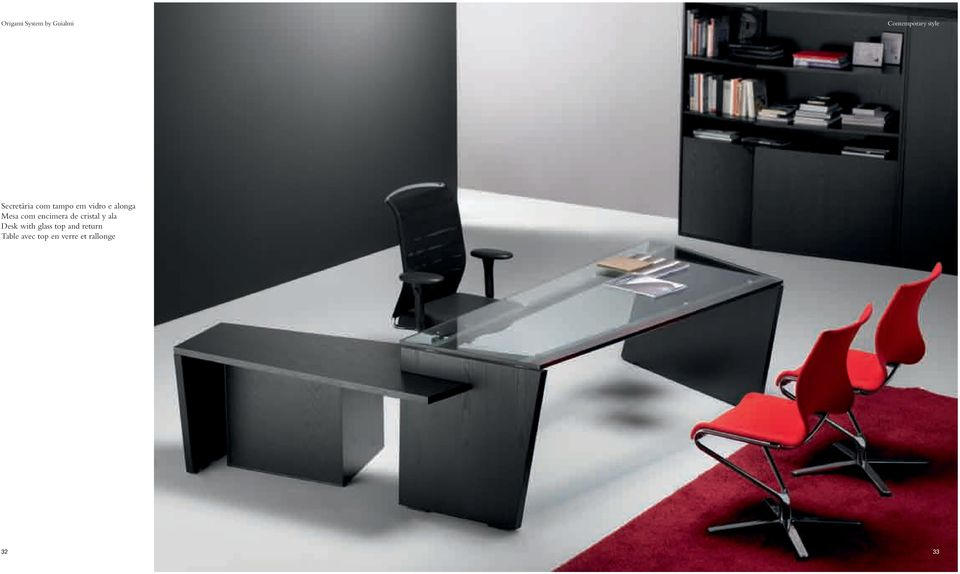 de cristal y ala Desk with glass top and