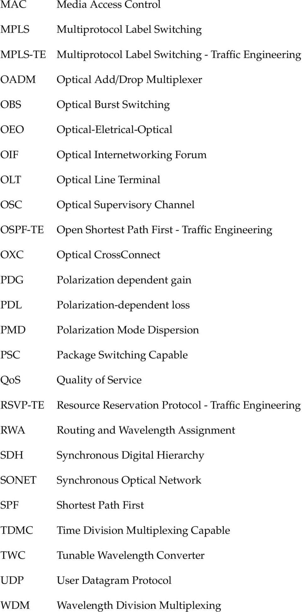 First - Traffic Engineering Optical CrossConnect Polarization dependent gain Polarization-dependent loss Polarization Mode Dispersion Package Switching Capable Quality of Service Resource Reservation