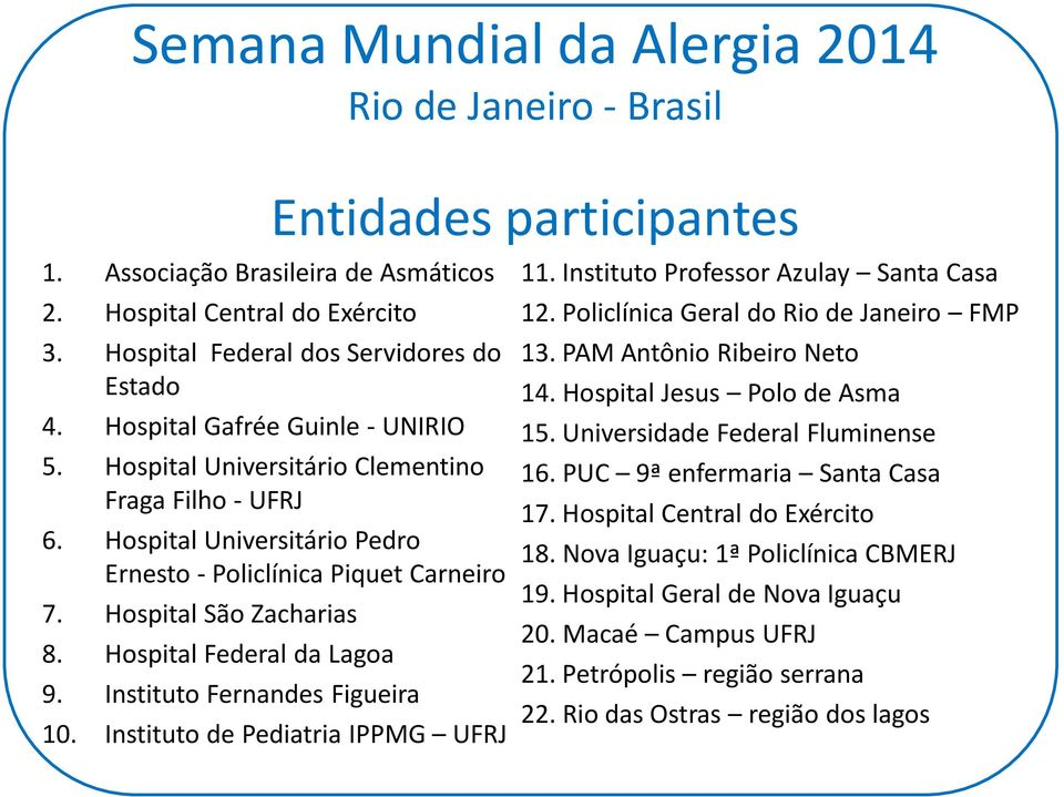 Hospital Federal da Lagoa 9. Instituto Fernandes Figueira 10. Instituto de Pediatria IPPMG UFRJ 11. Instituto Professor Azulay Santa Casa 12. Policlínica Geral do Rio de Janeiro FMP 13.