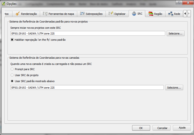 Figura 9.1: CRS tab in the QGIS Options Dialog When you use layers that do not have a CRS, you need to define how QGIS responds to these layers.