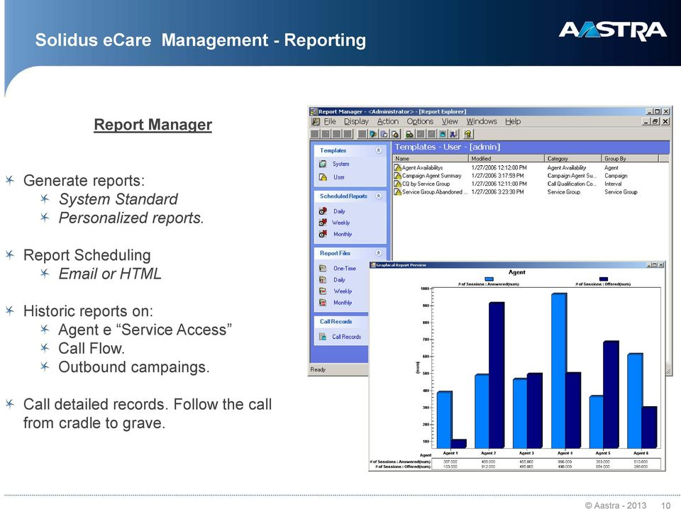 Report Scheduling Email or HTML Historic reports on: Agent e Service