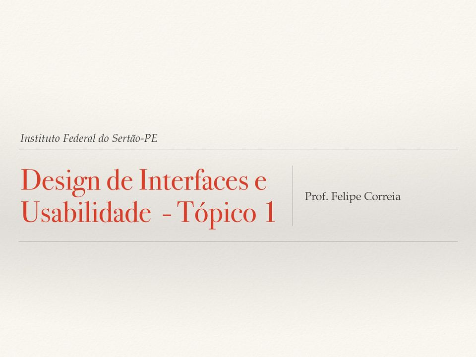 Interfaces e Usabilidade