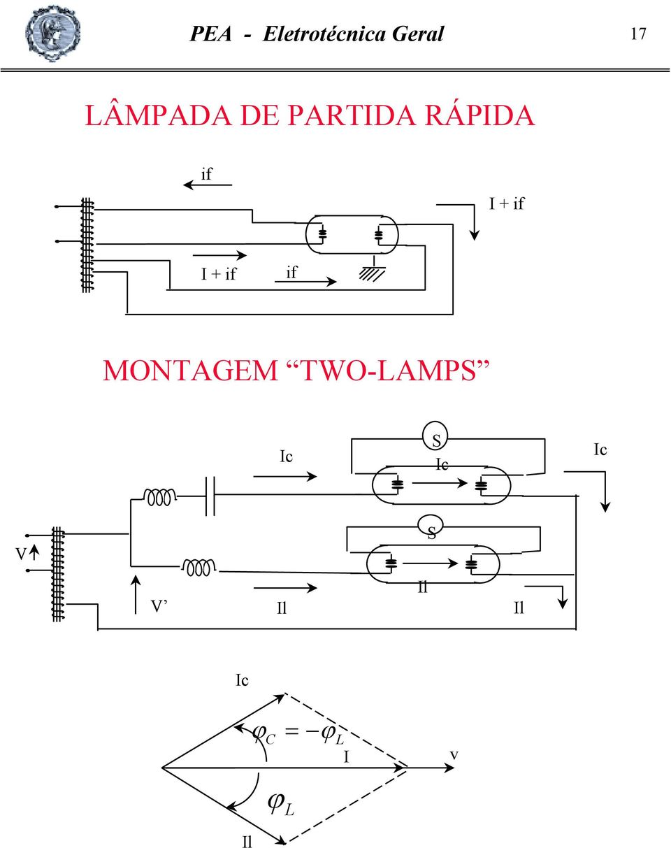 I + if if MONTAGEM TWO-LAMPS Ic S