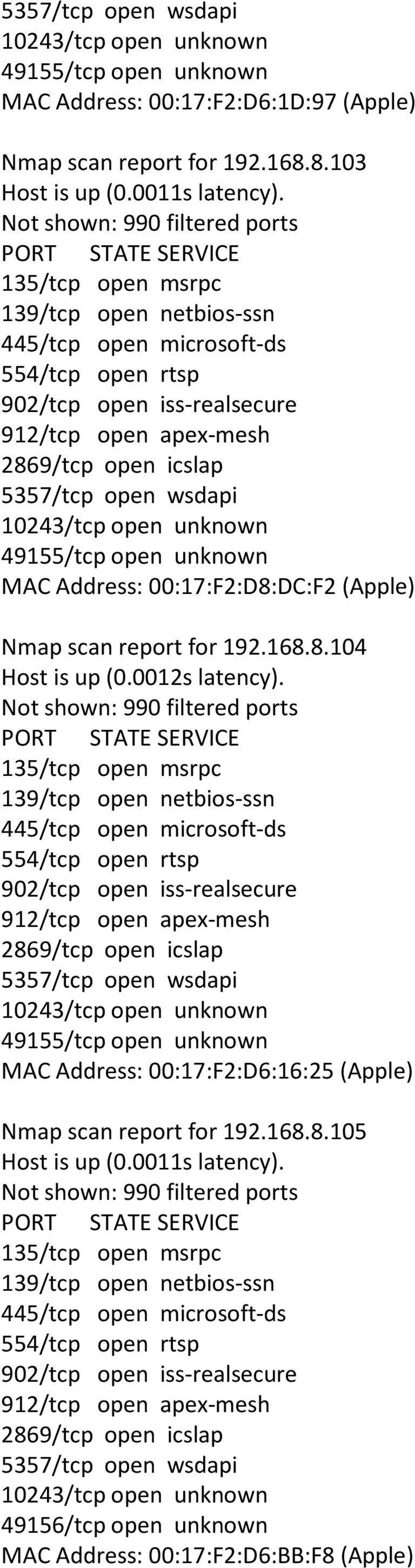 0012s latency). MAC Address: 00:17:F2:D6:16:25 (Apple) Nmap scan report for 192.168.