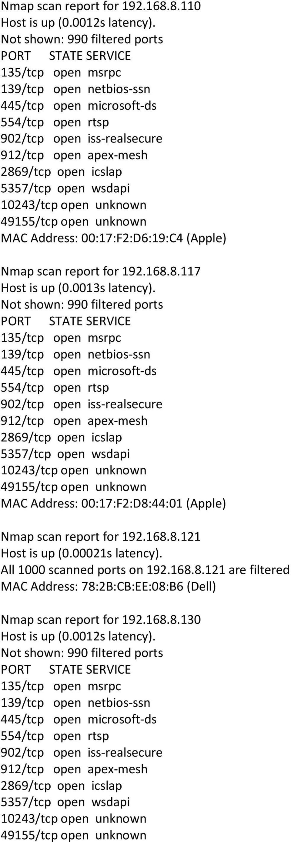 MAC Address: 00:17:F2:D8:44:01 (Apple) Nmap scan report for 192.168.8.121 Host is up (0.00021s latency).