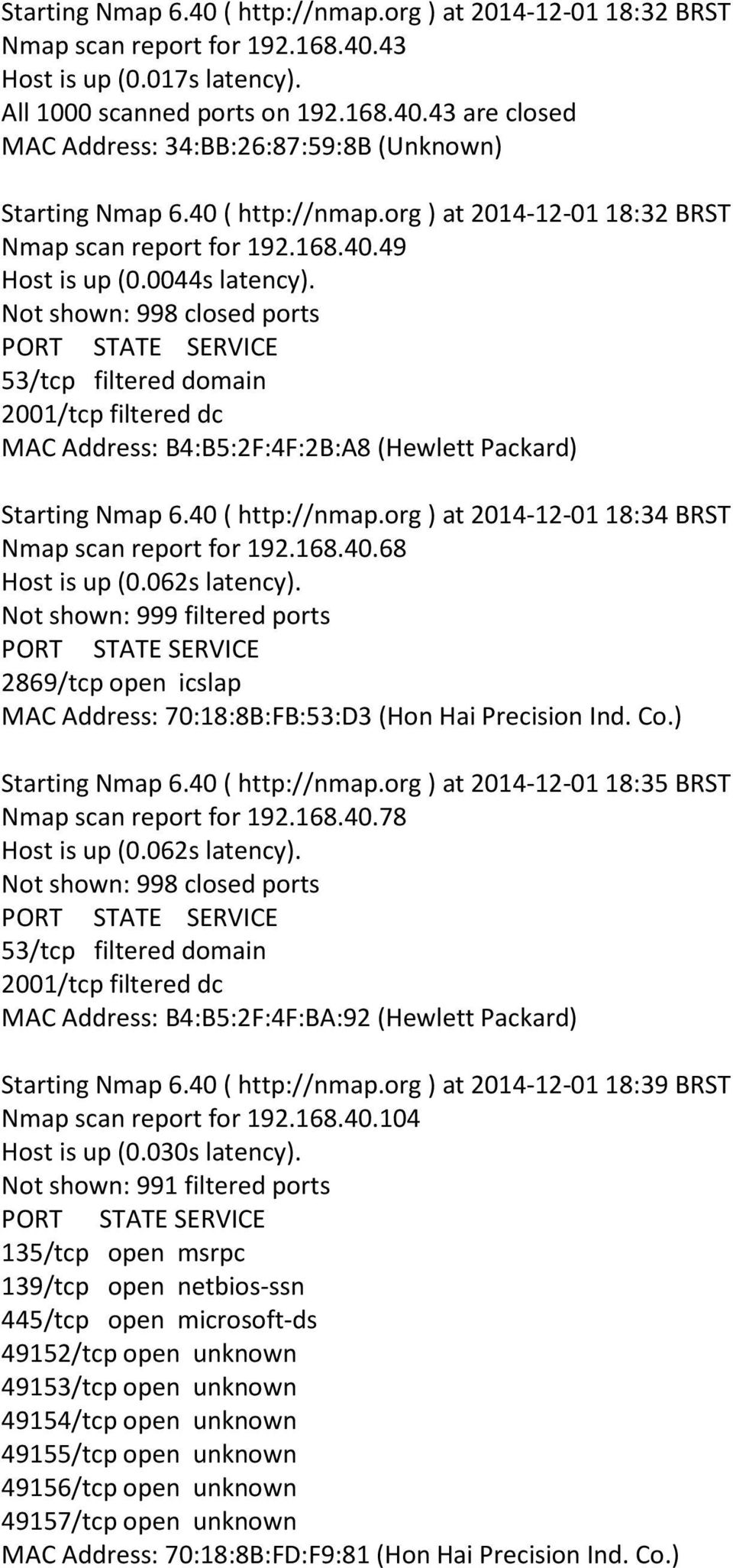 168.40.68 Host is up (0.062s latency). Not shown: 999 filtered ports MAC Address: 70:18:8B:FB:53:D3 (Hon Hai Precision Ind. Co.) Starting Nmap 6.40 ( http://nmap.