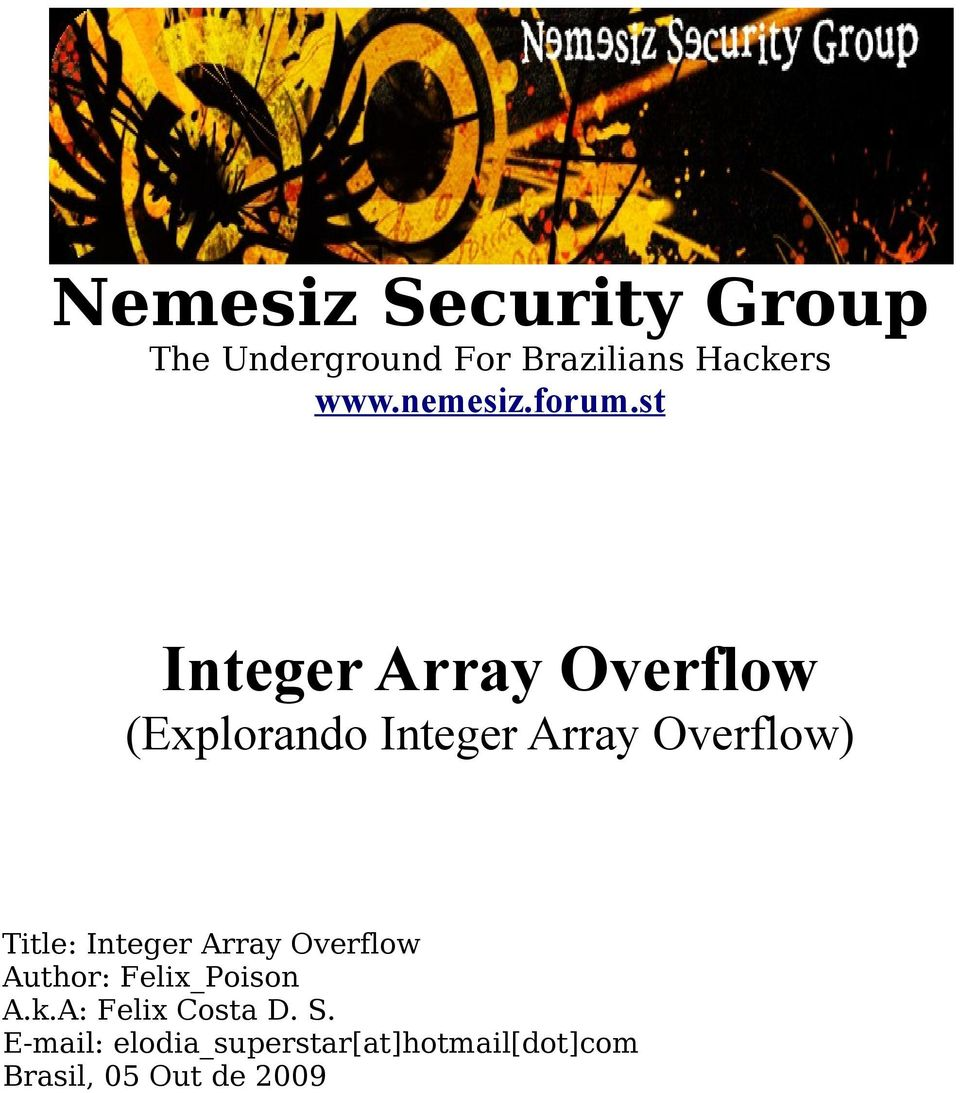 st Integer Array Overflow (Explorando Integer Array Overflow) Title: