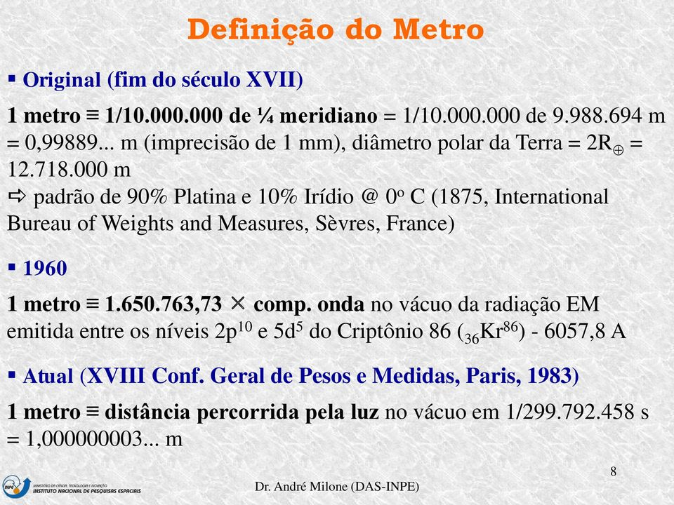 000 m padrão de 90% Platina e 10% Irídio @ 0 o C (1875, International Bureau of Weights and Measures, Sèvres, France) 1960 1 metro 1.650.