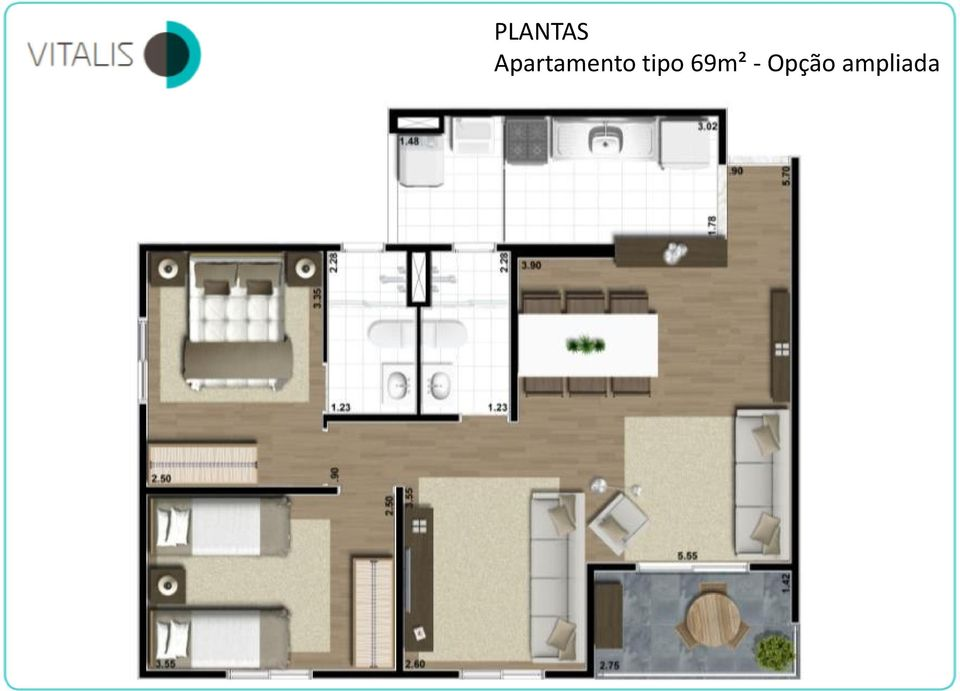 tipo 69m² -