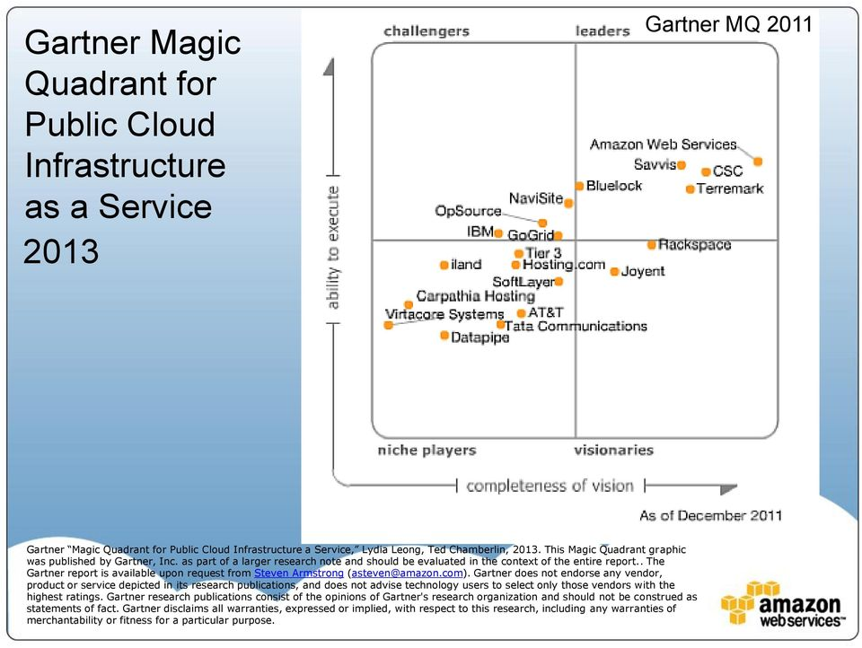 . The Gartner report is available upon request from Steven Armstrong (asteven@amazon.com).