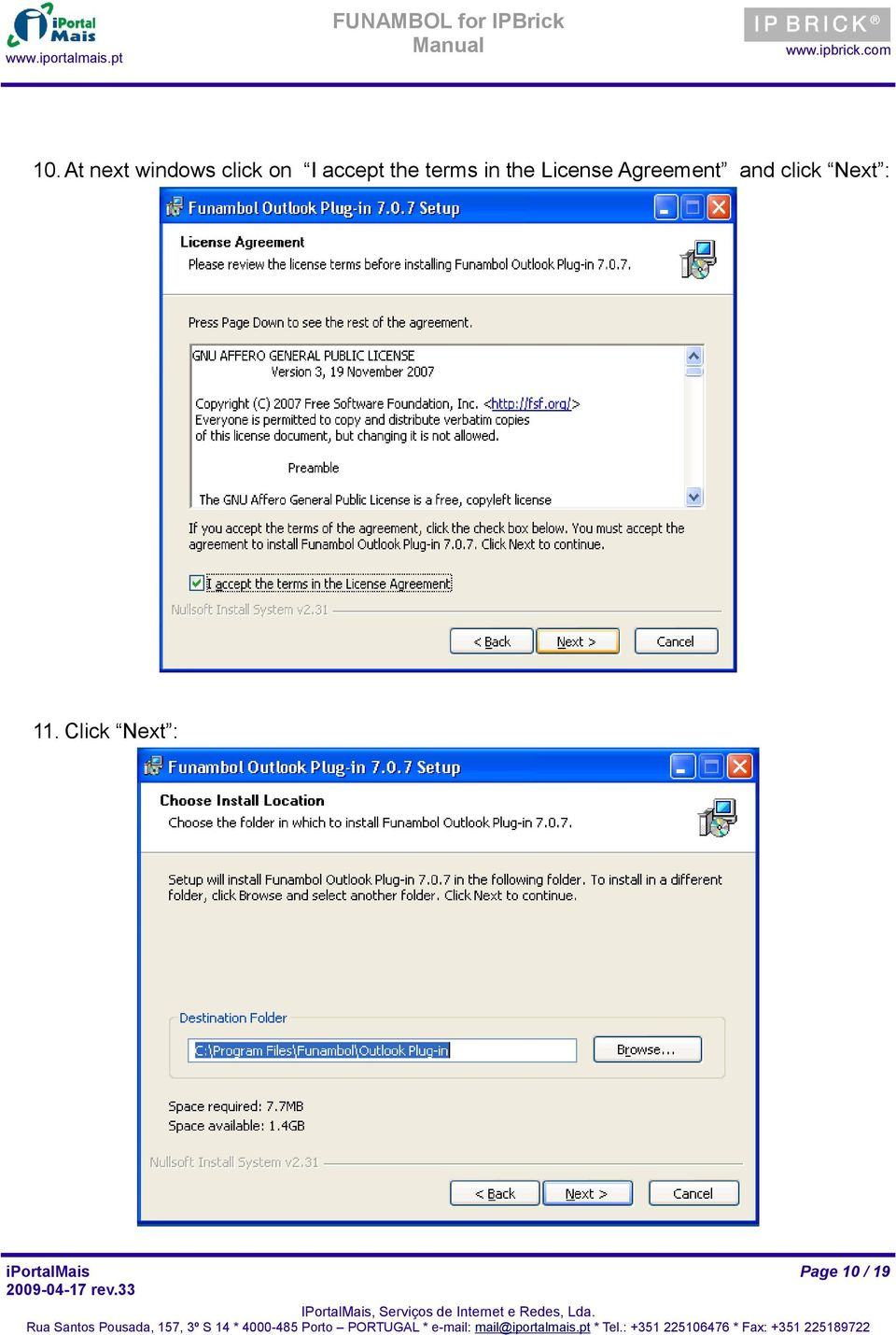 License Agreement and click