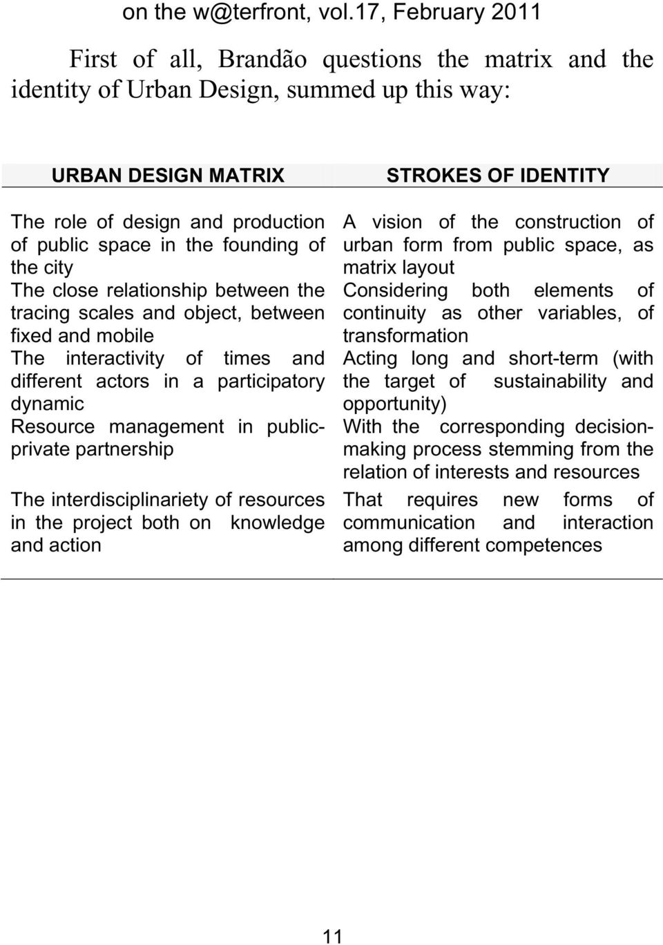 partnership The interdisciplinariety of resources in the project both on knowledge and action STROKES OF IDENTITY A vision of the construction of urban form from public space, as matrix layout