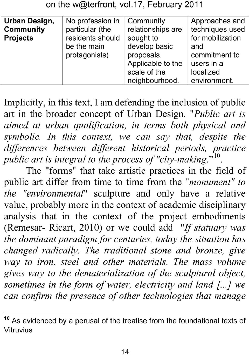 "Implicitly, in this text, I am defending the inclusion of public art in the broader concept of Urban Design. ""Public art is aimed at urban qualification, in terms both physical and symbolic."
