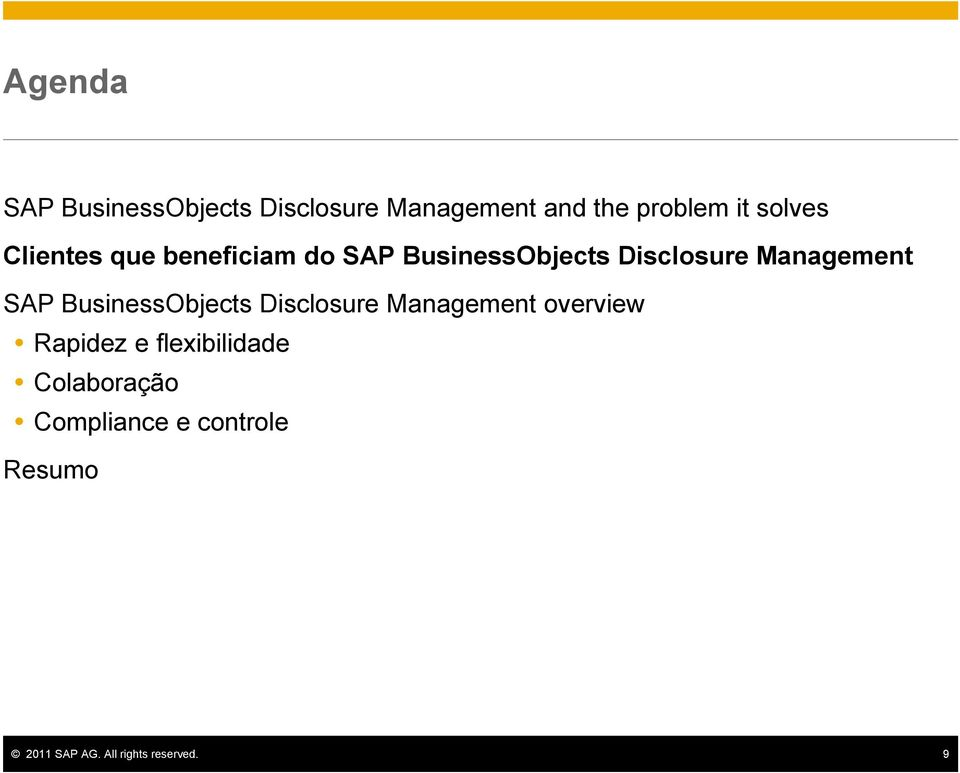 Disclosure Management SAP BusinessObjects Disclosure Management