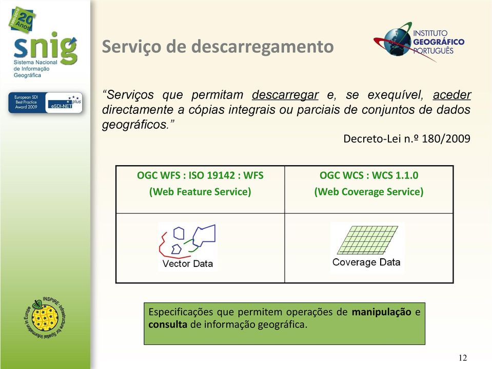 º 180/2009 OGC WFS : ISO 19142 : WFS (Web Feature Service) OGC WCS : WCS 1.1.0 (Web Coverage