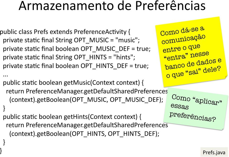 getDefaultSharedPreferences (context).getboolean(opt_music, OPT_MUSIC_DEF); public sta@c boolean gethints(context context) { return PreferenceManager.