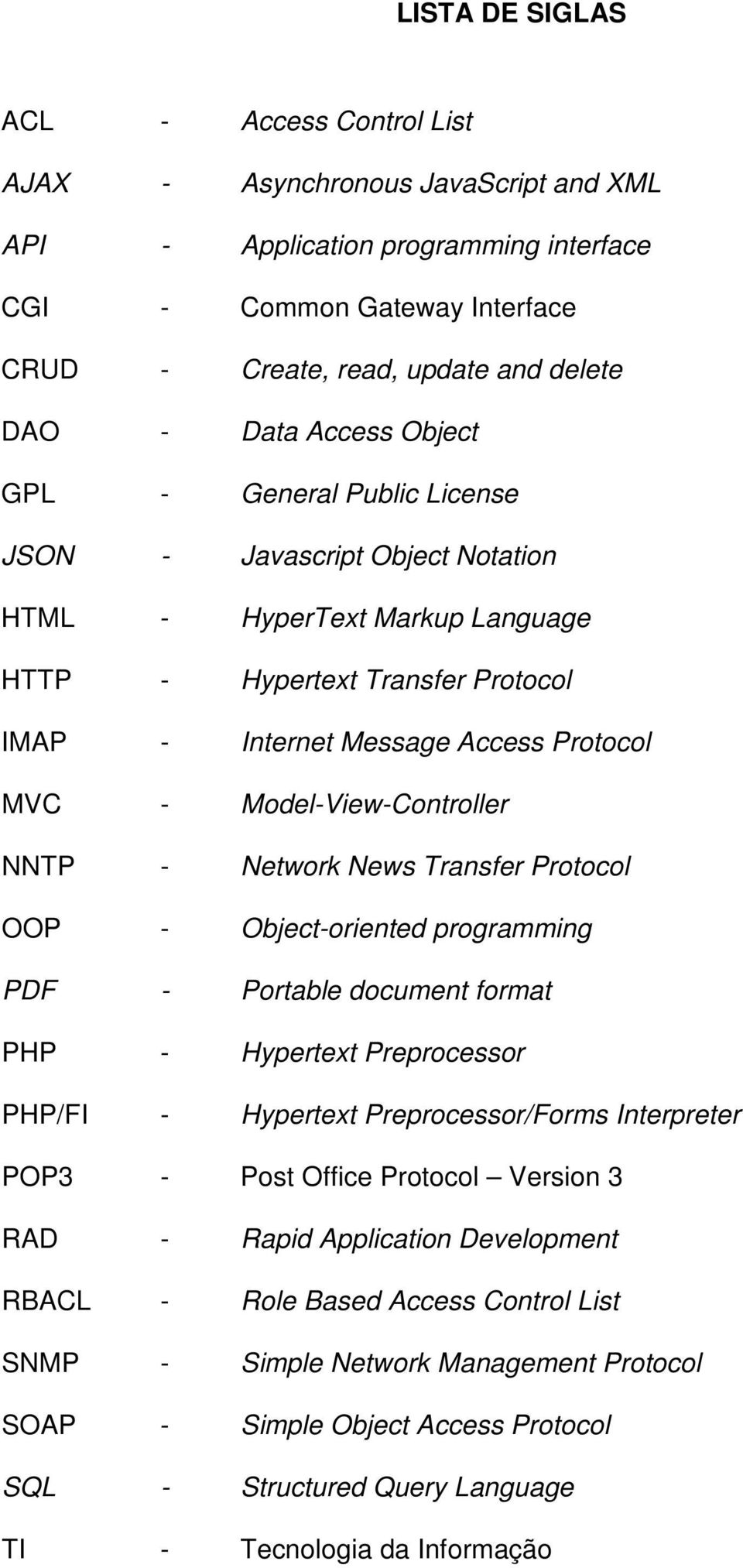 Model-View-Controller NNTP - Network News Transfer Protocol OOP - Object-oriented programming PDF - Portable document format PHP - Hypertext Preprocessor PHP/FI - Hypertext Preprocessor/Forms