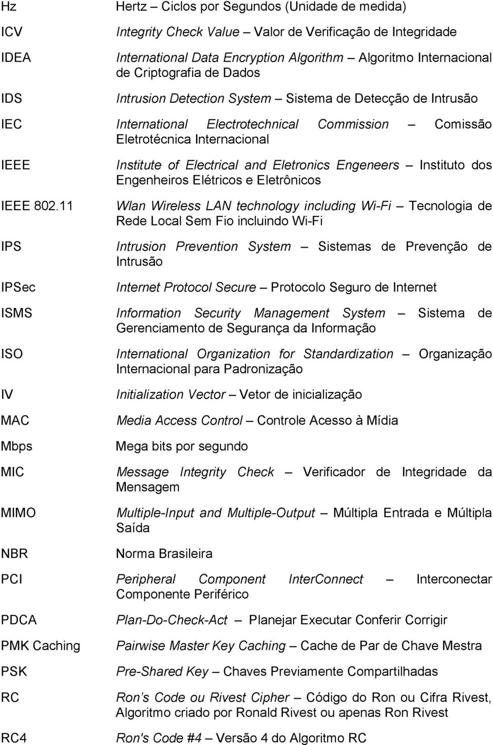 11 IPS IPSec ISMS ISO IV MAC Mbps MIC MIMO NBR Institute of Electrical and Eletronics Engeneers Instituto dos Engenheiros Elétricos e Eletrônicos Wlan Wireless LAN technology including Wi-Fi