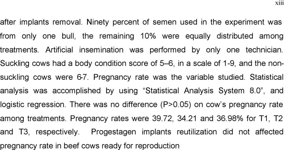 Pregnancy rate was the variable studied. Statistical analysis was accomplished by using Statistical Analysis System 8.0, and logistic regression. There was no difference (P>0.