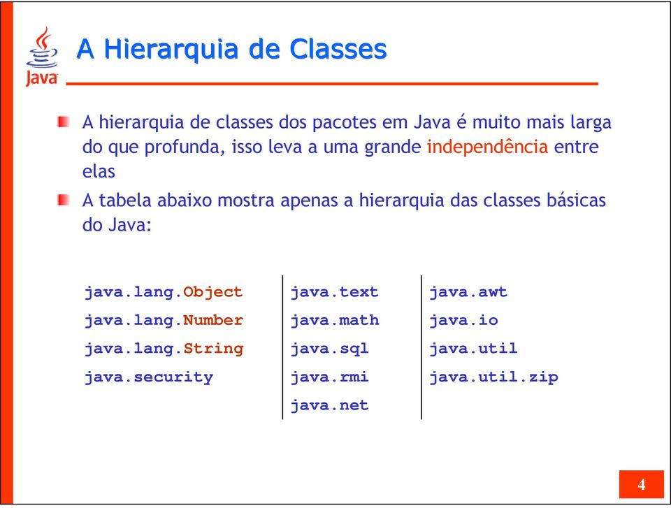 hierarquia das classes básicas do Java: java.lang.object java.lang.number java.lang.string java.