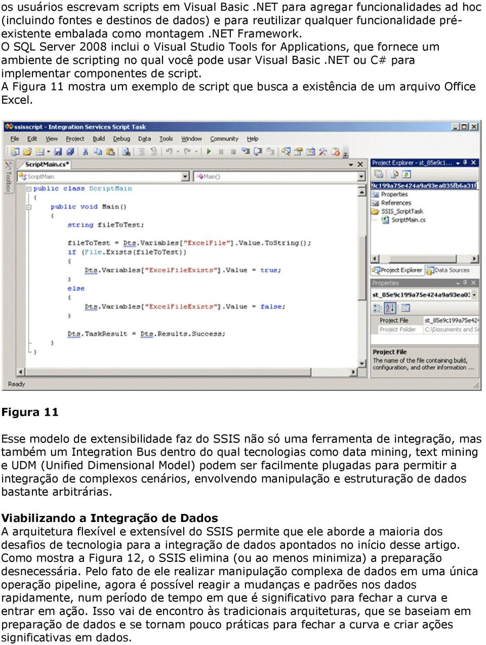 O SQL Server 2008 inclui o Visual Studio Tools for Applications, que fornece um ambiente de scripting no qual você pode usar Visual Basic.NET ou C# para implementar componentes de script.