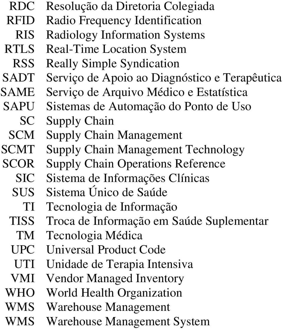 Technology SCOR Supply Chain Operations Reference SIC Sistema de Informações Clínicas SUS Sistema Único de Saúde TI Tecnologia de Informação TISS Troca de Informação em Saúde Suplementar TM