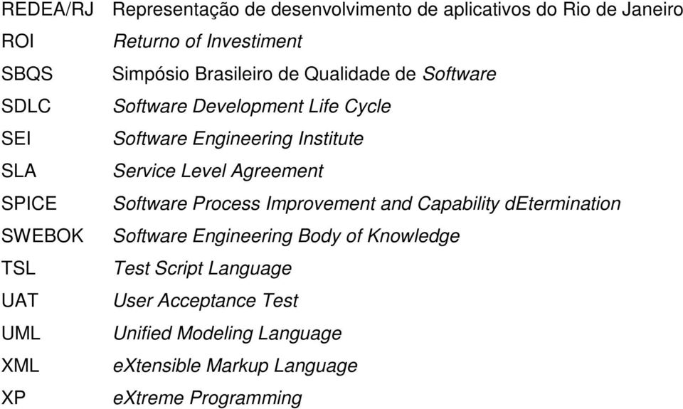 Level Agreement SPICE Software Process Improvement and Capability determination SWEBOK Software Engineering Body of