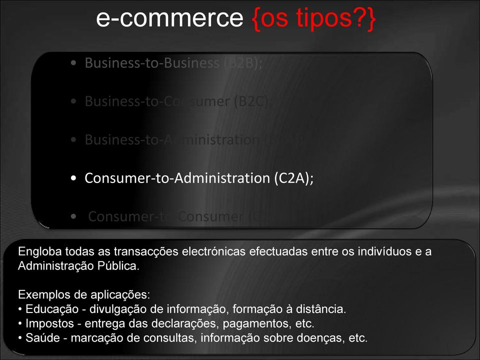 Consumer-to-Administration (C2A); Consumer-to-Consumer (C2C).