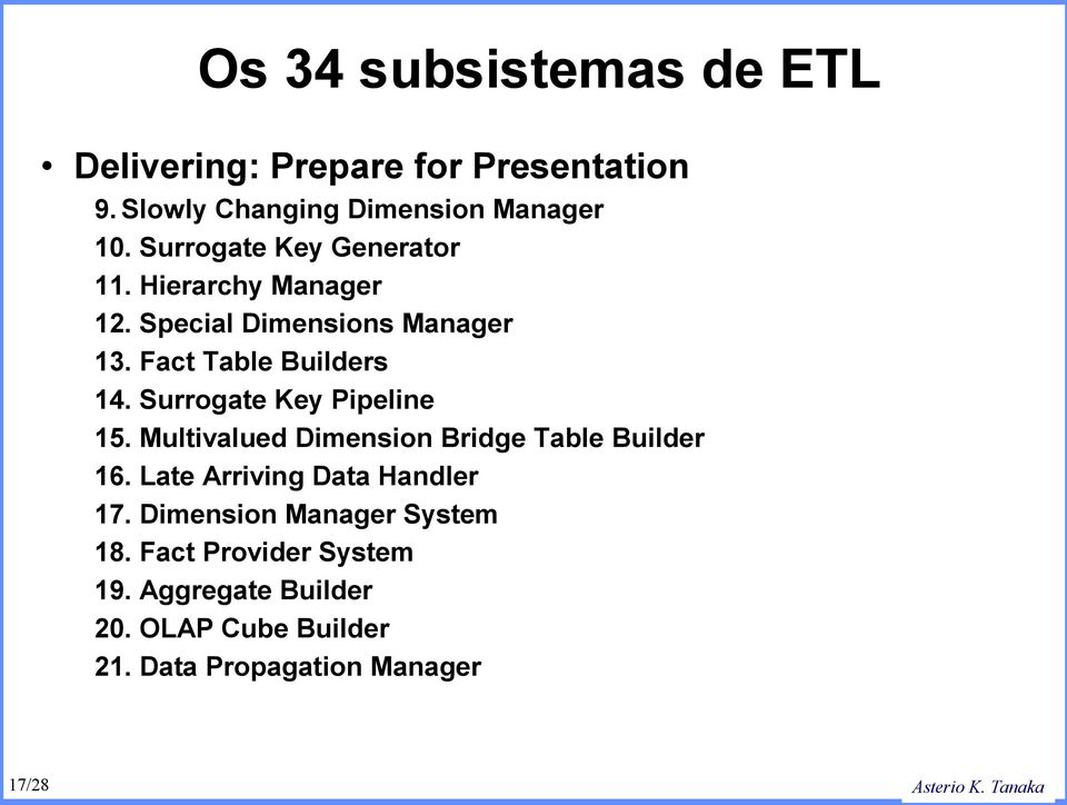 Surrogate Key Pipeline 15. Multivalued Dimension Bridge Table Builder 16. Late Arriving Data Handler 17.