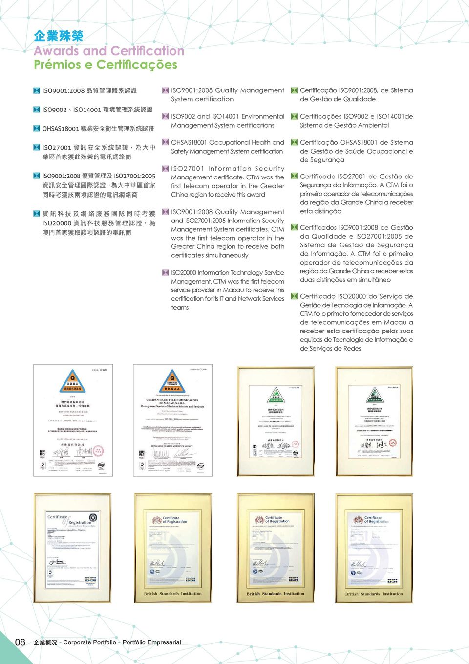 CTM was the first telecom operator in the Greater China region to receive this award ISO9001:2008 Quality Management and ISO27001:2005 Information Security Management System certificates.