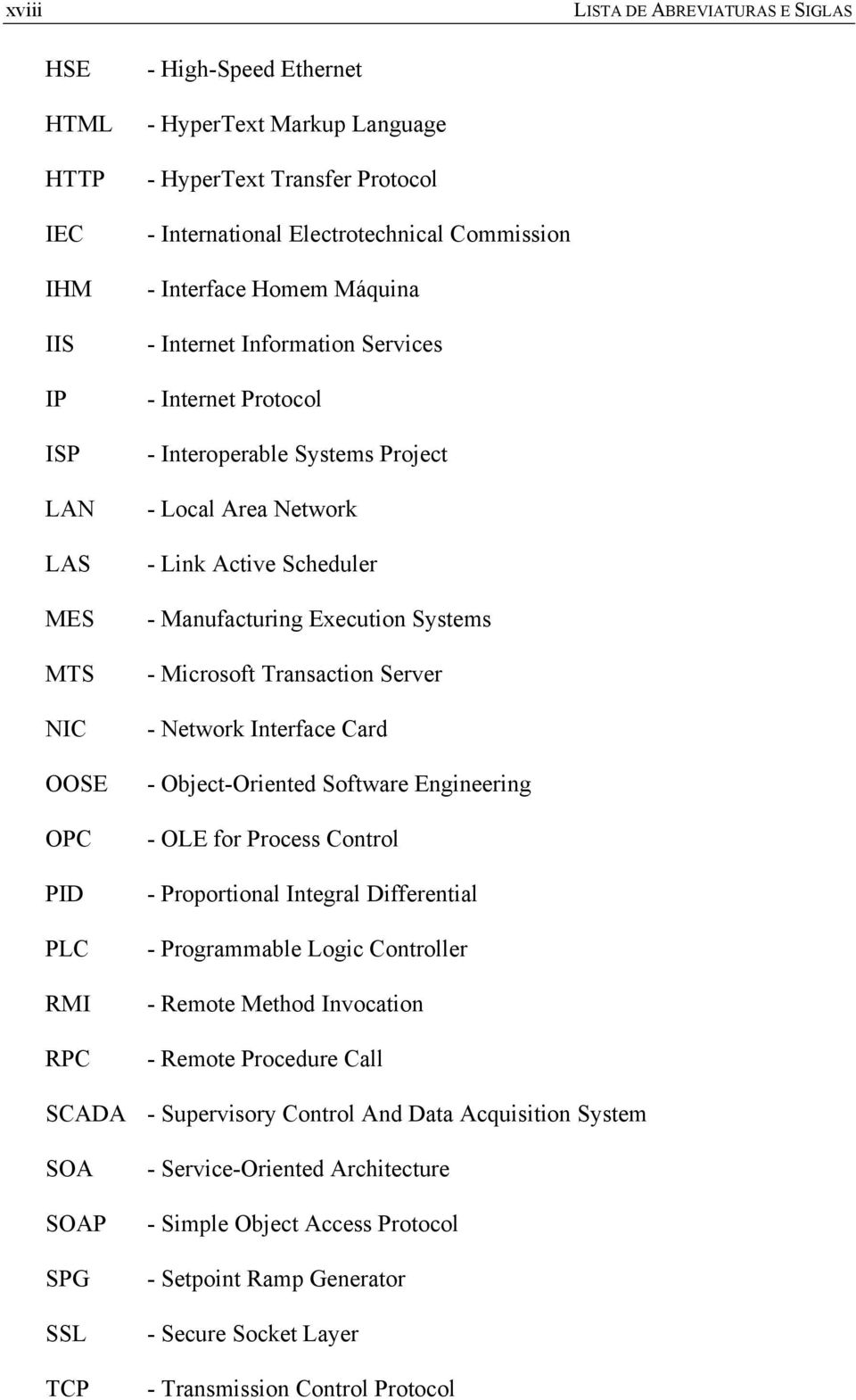 Manufacturing Execution Systems - Microsoft Transaction Server - Network Interface Card - Object-Oriented Software Engineering - OLE for Process Control - Proportional Integral Differential -