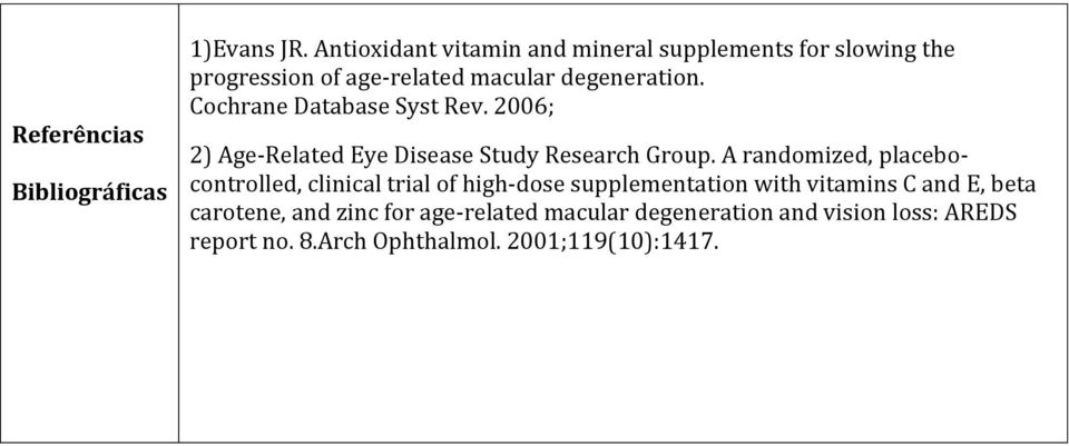 Cochrane Database Syst Rev. 2006; 2) Age-Related Eye Disease Study Research Group.