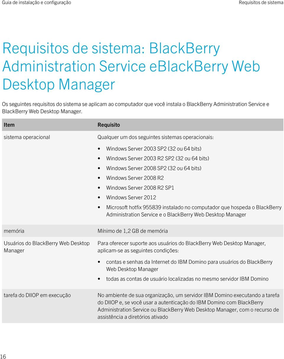 Item sistema operacional Requisito Qualquer um dos seguintes sistemas operacionais: Windows Server 2003 SP2 (32 ou 64 bits) Windows Server 2003 R2 SP2 (32 ou 64 bits) Windows Server 2008 SP2 (32 ou
