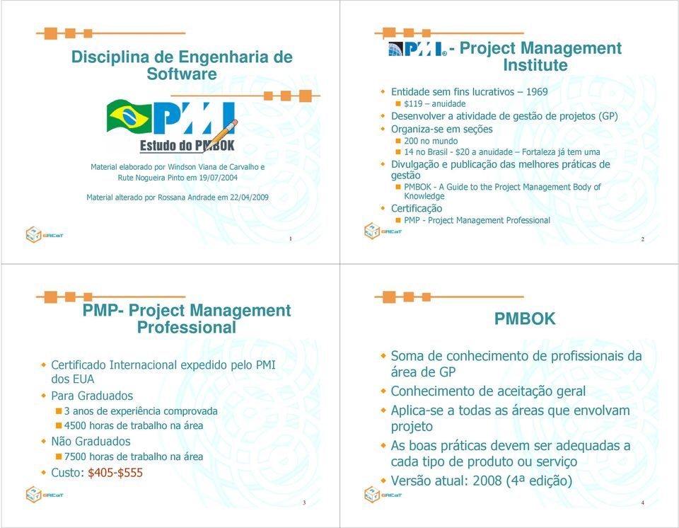 Divulgação e publicação das melhores práticas de gestão PMBOK - A Guide to the Project Management Body of Knowledge Certificação PMP - Project Management Professional 1 2 PMP- Project Management