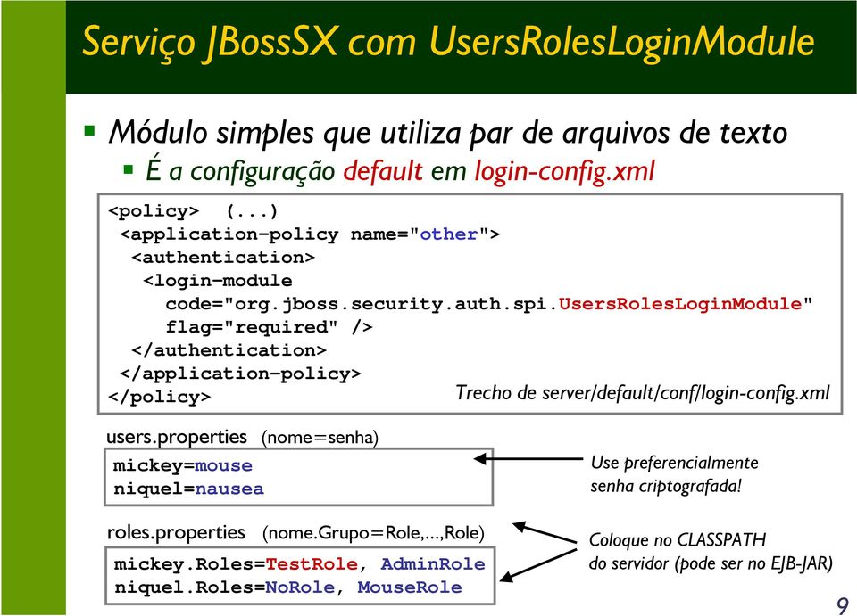 "usersrolesloginmodule"" flag=""required"" /> </authentication> </application-policy> </policy> Trecho de server/default/conf/login-config.xml users."