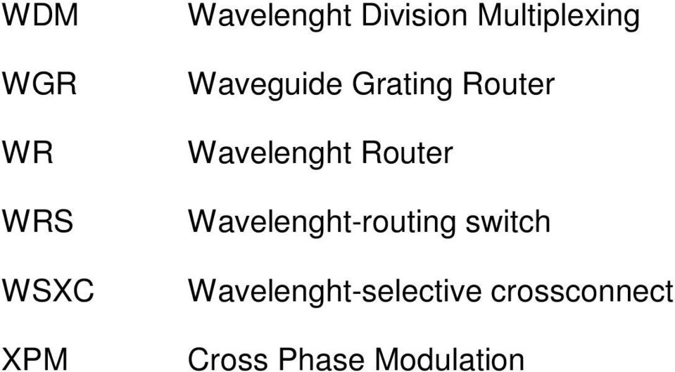 Wavelenght Router Wavelenght-routing switch