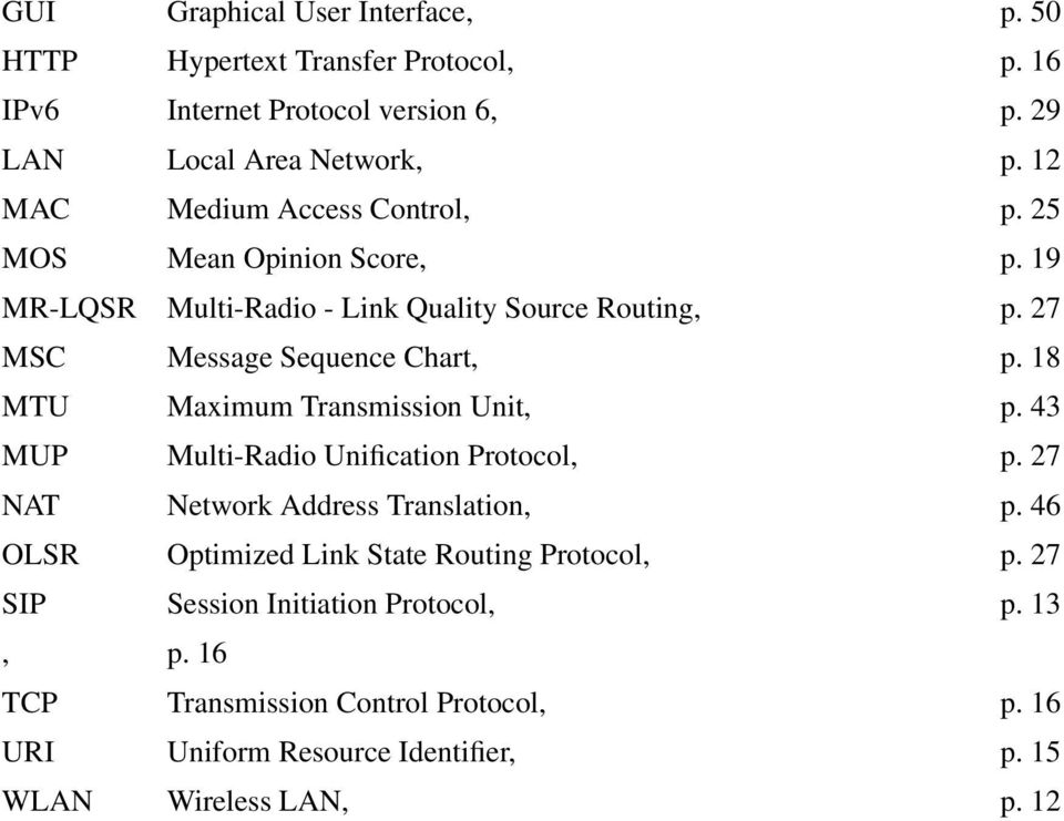 18 MTU Maximum Transmission Unit, p. 43 MUP Multi-Radio Unification Protocol, p. 27 NAT Network Address Translation, p.