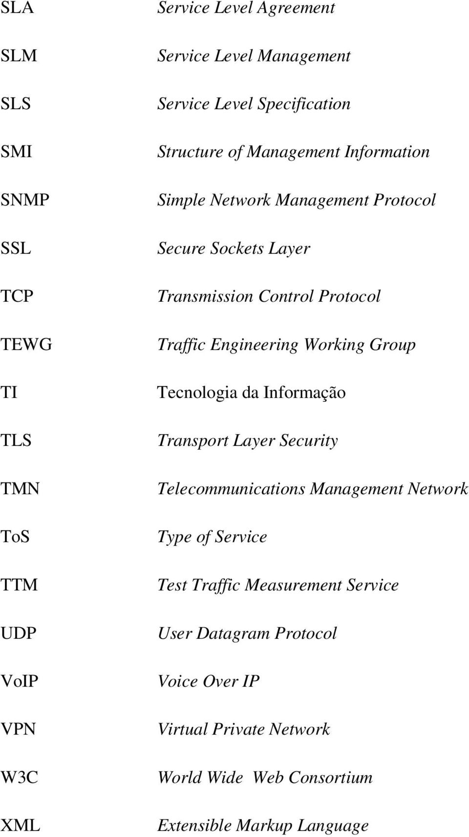 Traffic Engineering Working Group Tecnologia da Informação Transport Layer Security Telecommunications Management Network Type of Service