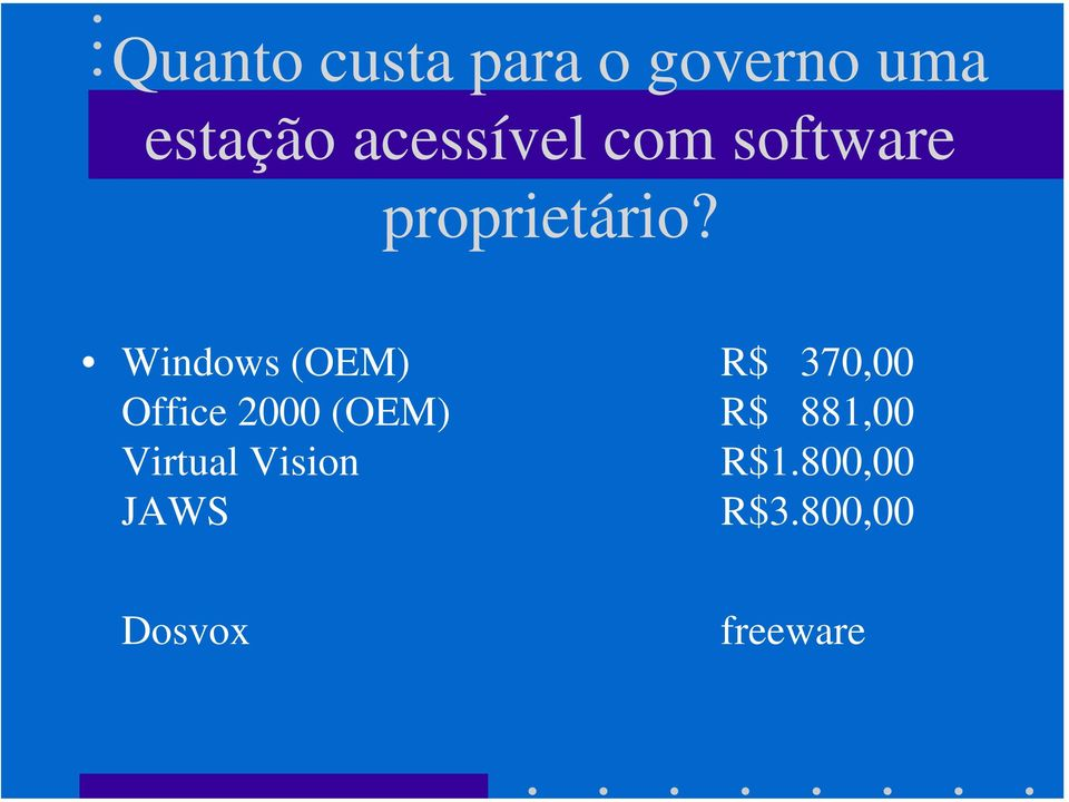 Windows (OEM) R$ 370,00 Office 2000 (OEM) R$