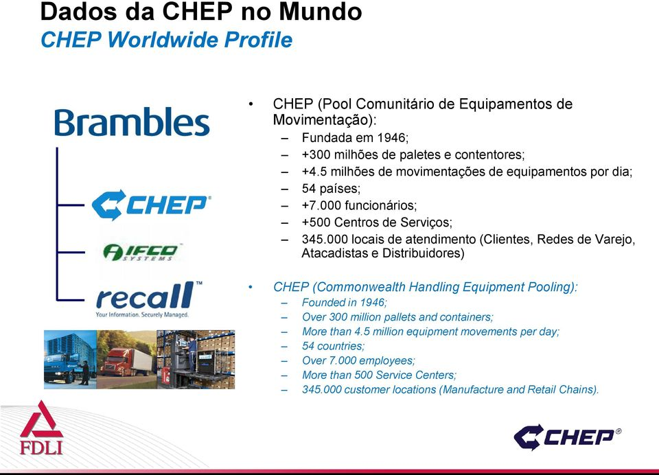 000 locais de atendimento (Clientes, Redes de Varejo, Atacadistas e Distribuidores) CHEP (Commonwealth Handling Equipment Pooling): Founded in 1946; Over 300